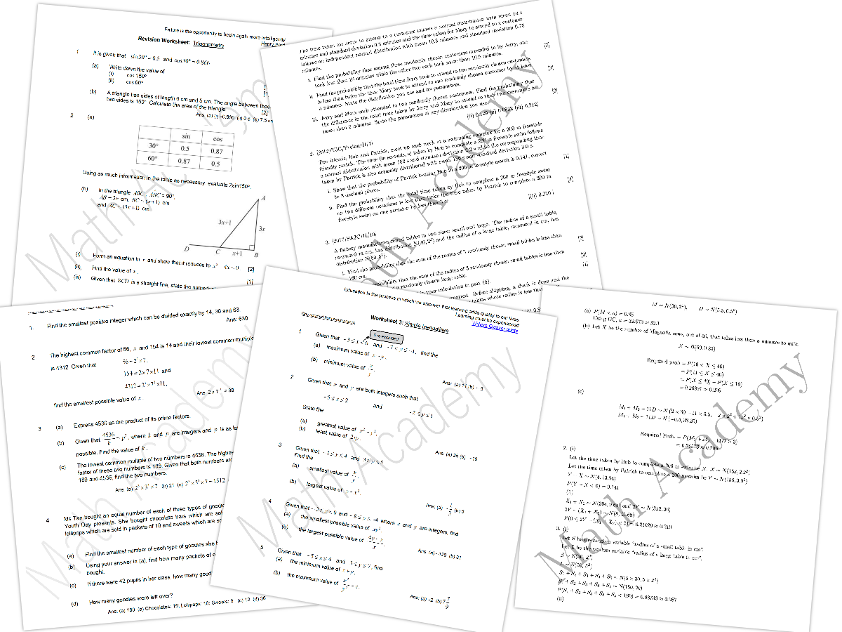 Math Academy Worksheets